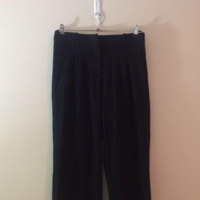 Black front pleat pants