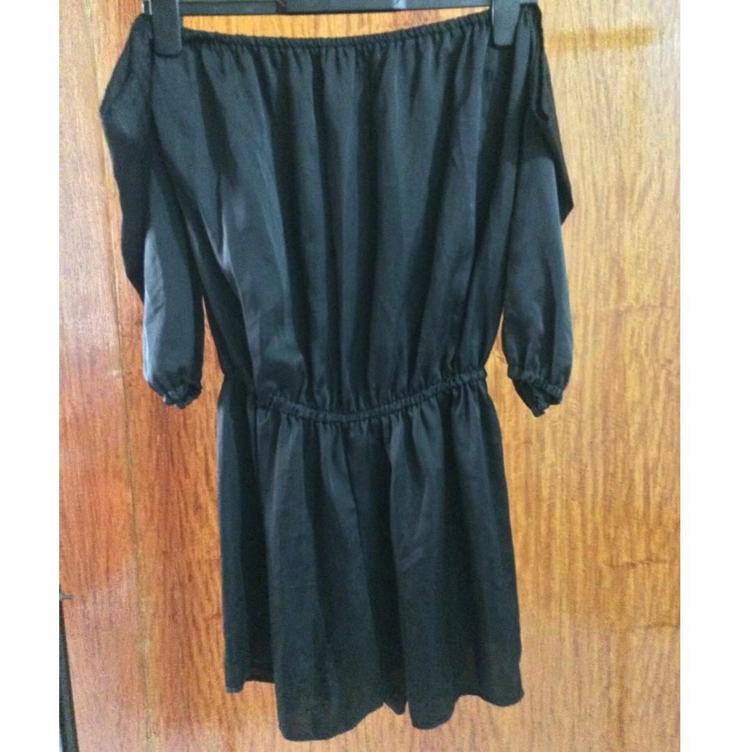 80e1dc39e7c Black Off shoulder romper shorts