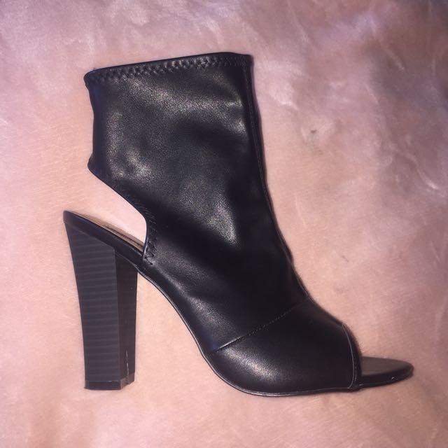 Black Zahlia open toe heeled boots