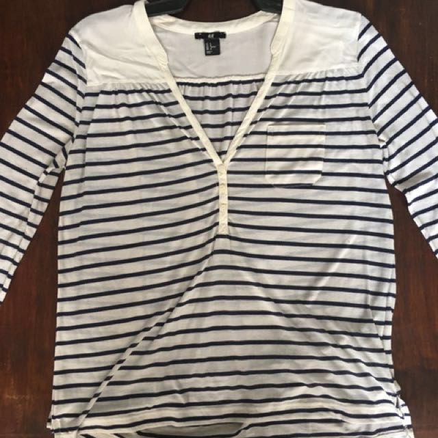 Blue and white striped H&M blouse