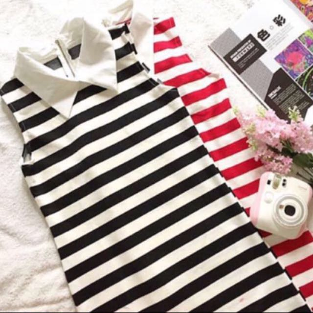 [BN] Red & Black Collar Stripes Bodycon Dress