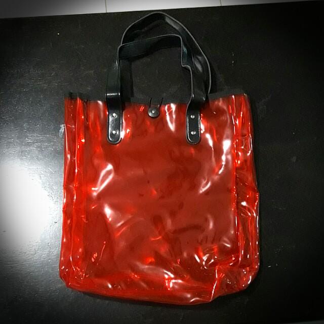 BNEW Red Transparent Bag