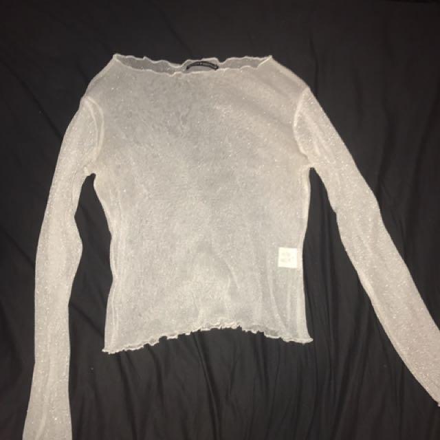 Brandy Melville Long Sleeve Frill Top