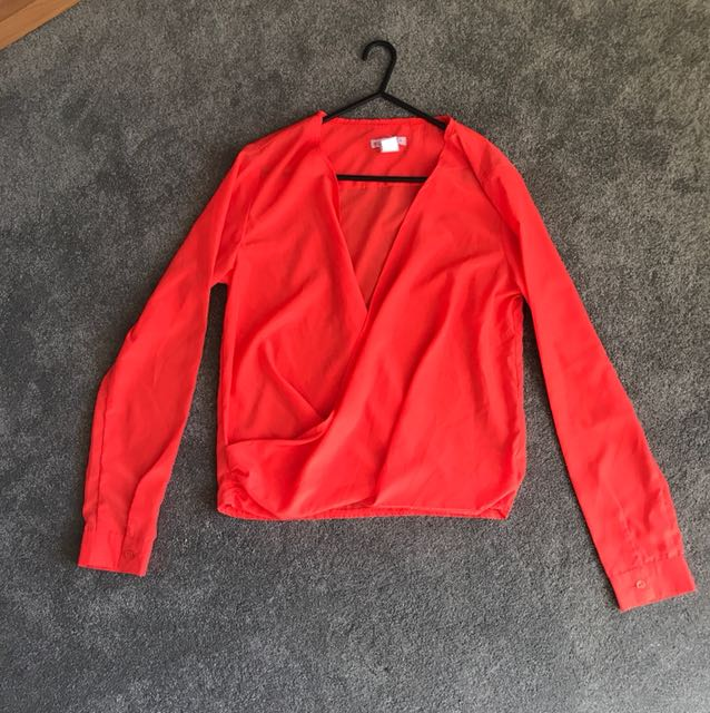 Bright orange wrap shirt SMALL