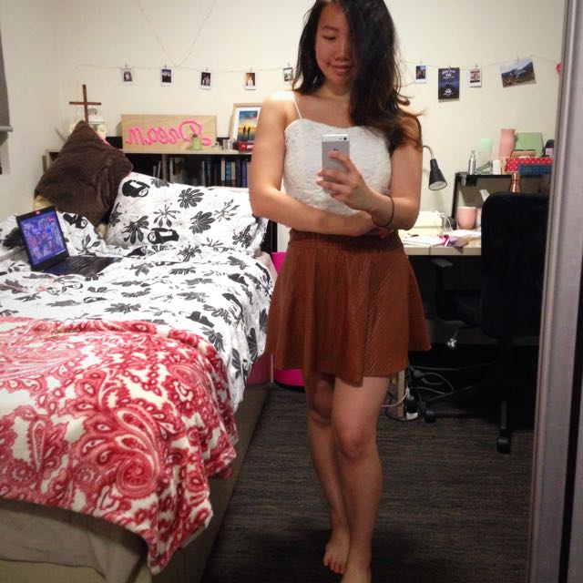 Brown textured circle skirt