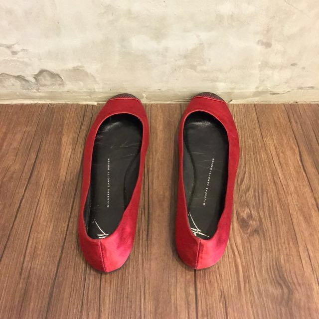 Bundle - Giuseppe Zanotti Red Satin Ballet Pumps 37