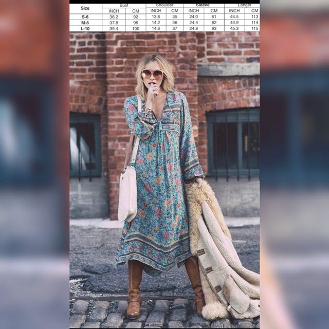 Cast Your Spell In This Gypsy Print Folktown Maxi Dress Turquoise. Bnwt. Rayon. S,M & L