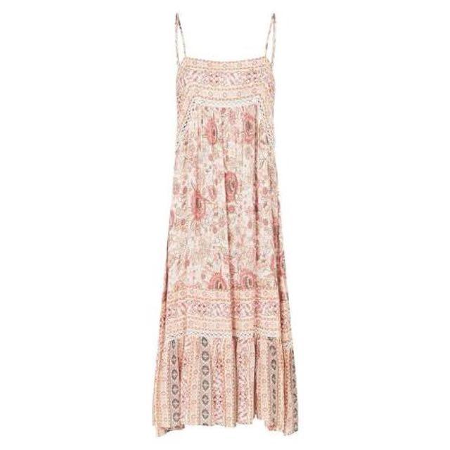 Cast Your Spell In This Gypsy Print Zahara Midi Dress RoseWater. Large bnwt rayon boho hippy gypsy