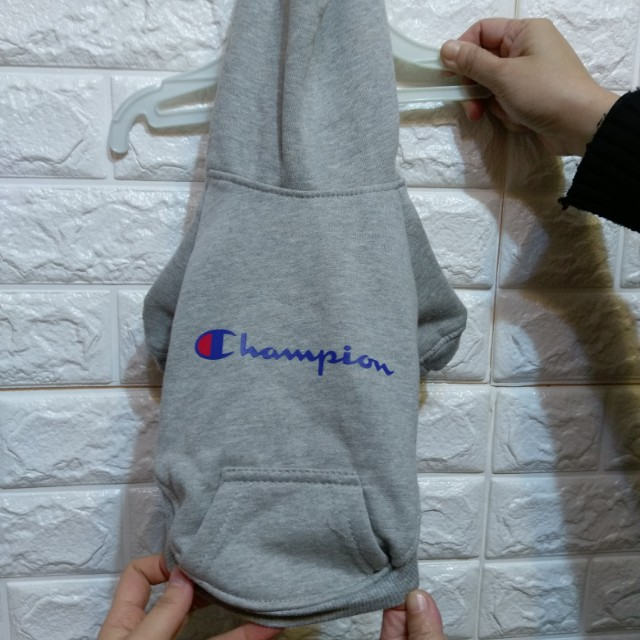 champion圖案寵物灰色連帽T