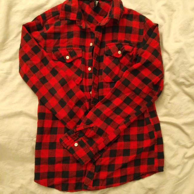 Checkered red and black button up shirt