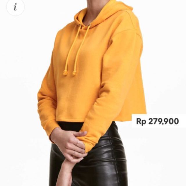 cropped hooded top h&m mustard