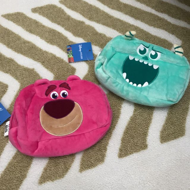 Disney 迪士尼 毛怪 熊抱哥 lotso 絨毛造型化妝包 收納袋 筆袋