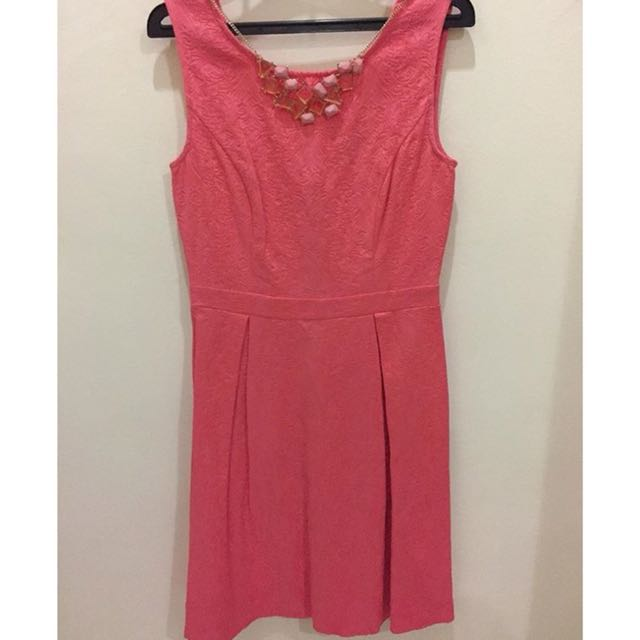 Dorothy Perkins Peach Dress with necklace embellishment