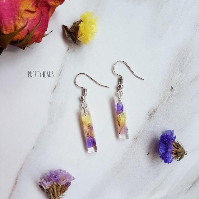 Dried flowers statice earrings