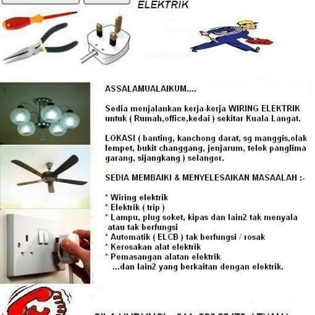 Elektrik Wiring Pemasangan Alatan Services Home Electrical Lighting Di Carou
