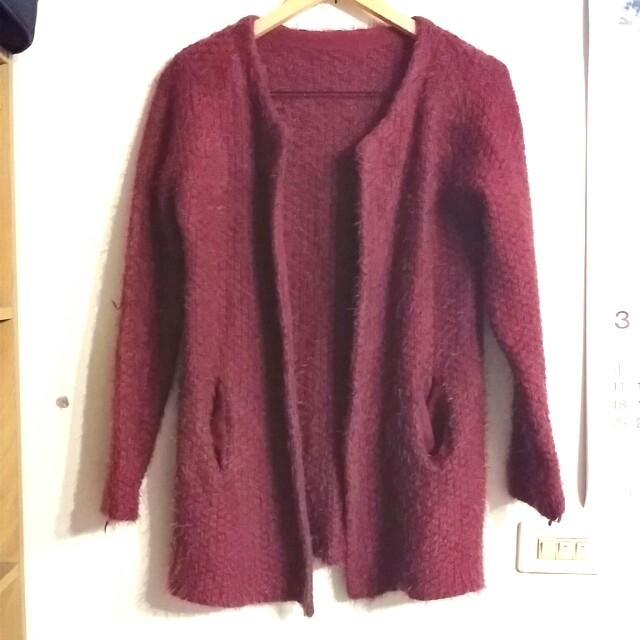 epanouir 專櫃酒紅針織外套