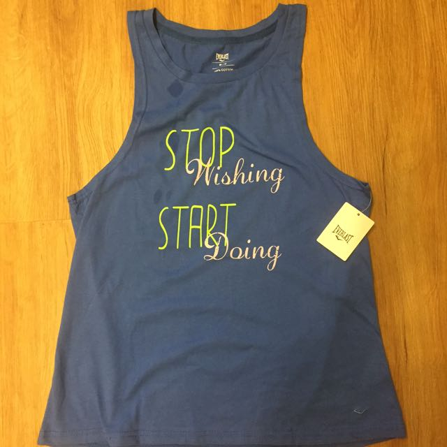 "Everlast Blue ""Stop Wishing Start Doing"" sports top"