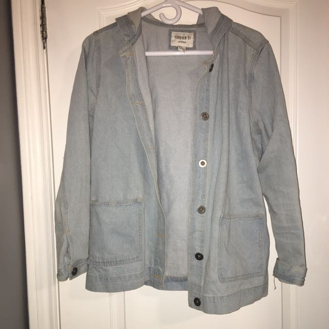 Forever 21 Jean jacket with hood