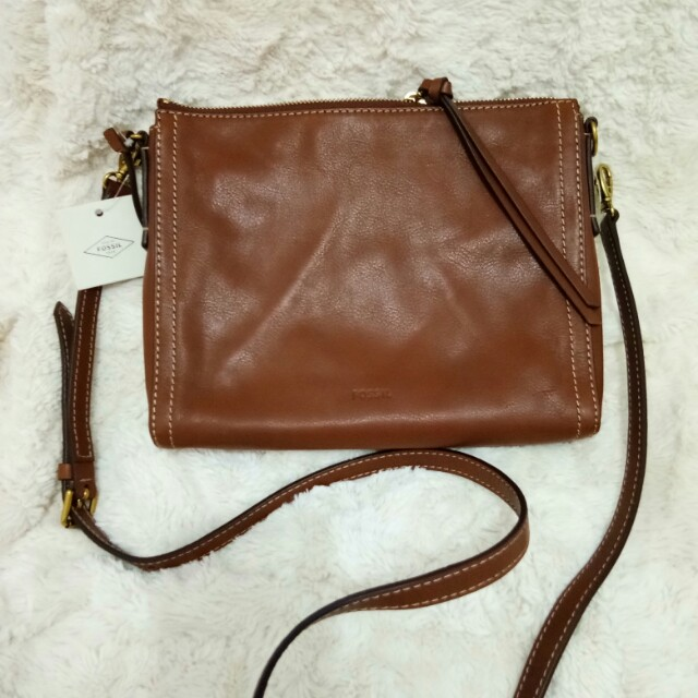 Fossil Leather Emma EW cross bag Authentic New