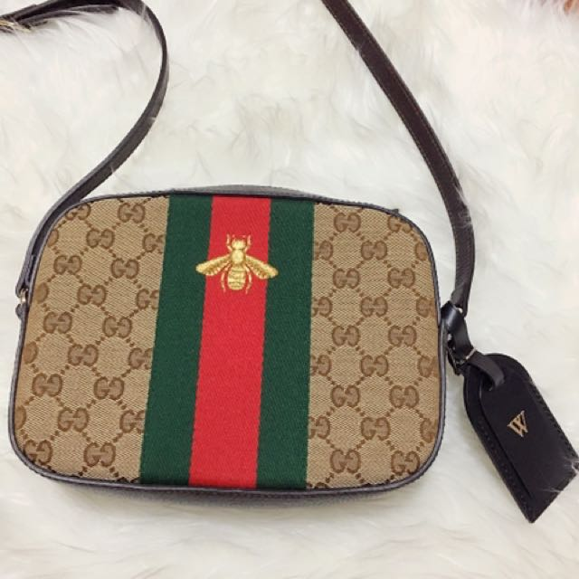 Gucci web bee crossbody, Luxury, Bags \u0026 Wallets on Carousell