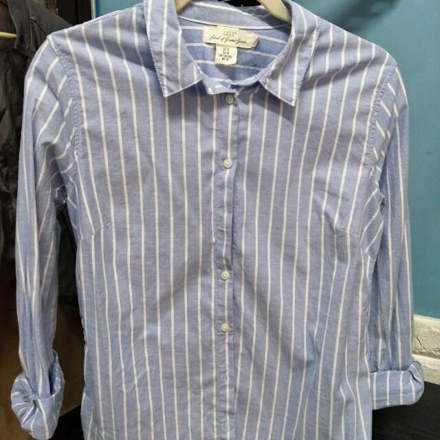 H&M條紋長袖襯衫/可當罩衫夏日薄外套