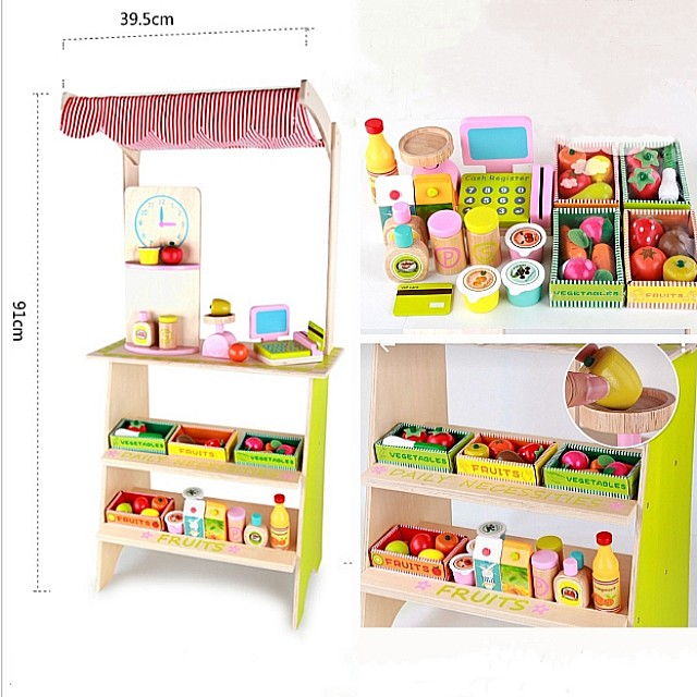 Free Delivery Wooden Supermarket Fruits And Vegetables Mini Display