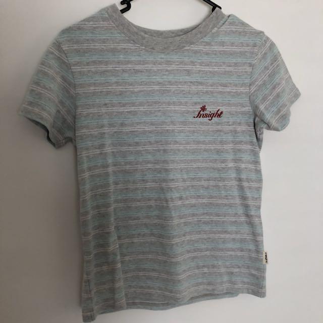 INSIGHT grey blue stripe top