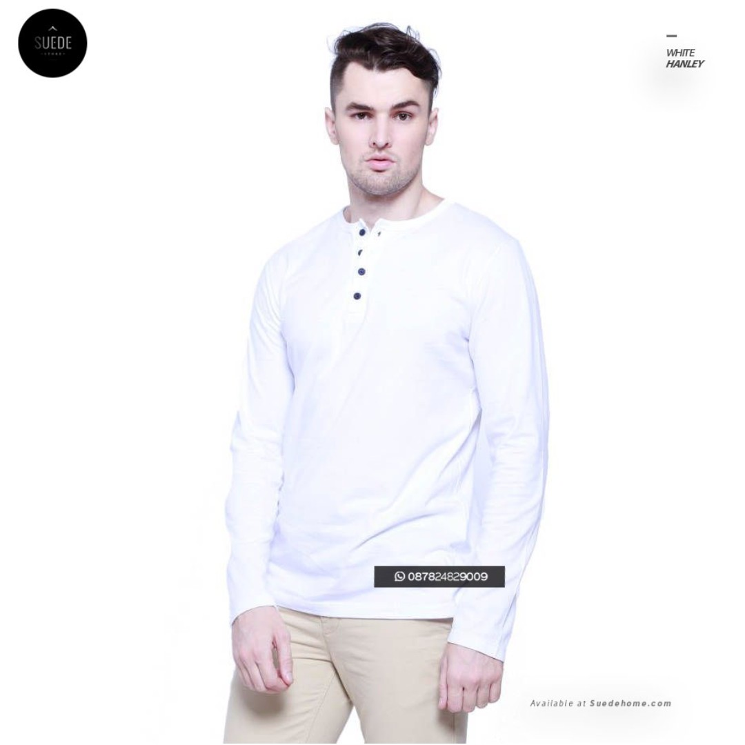 Kaos Lengan Panjang Pria Hanley White Original Olshop Fashion Pendek Basic Shirt On Carousell