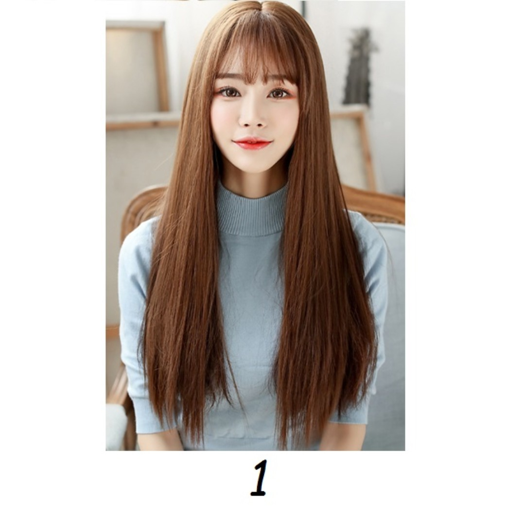 korean air fringe clip on wig with scalp straight curls natural