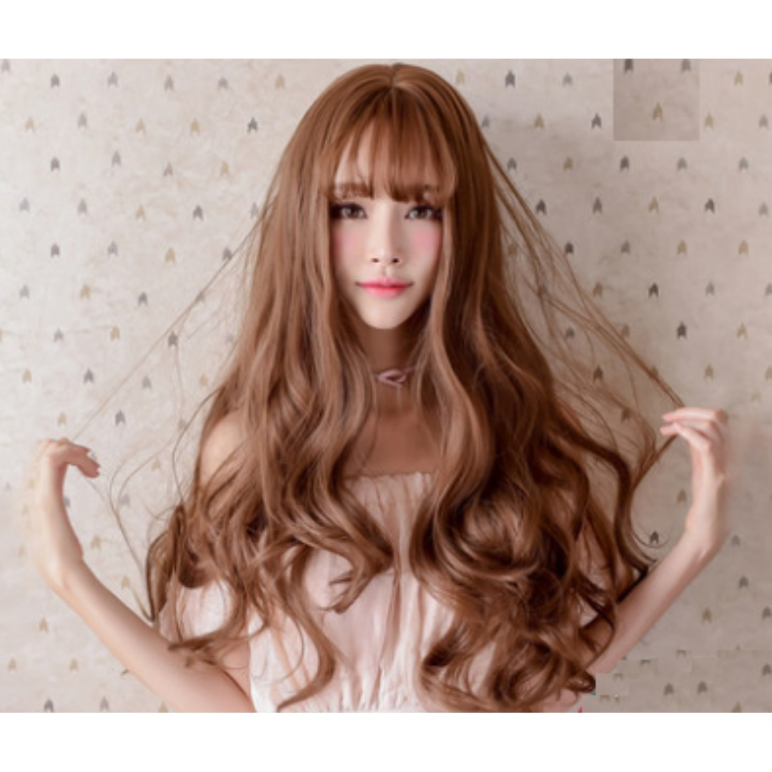 Korean Air Fringe Full Curly Wig With Scalp (Light Brown Chocolate ... c2145136562d