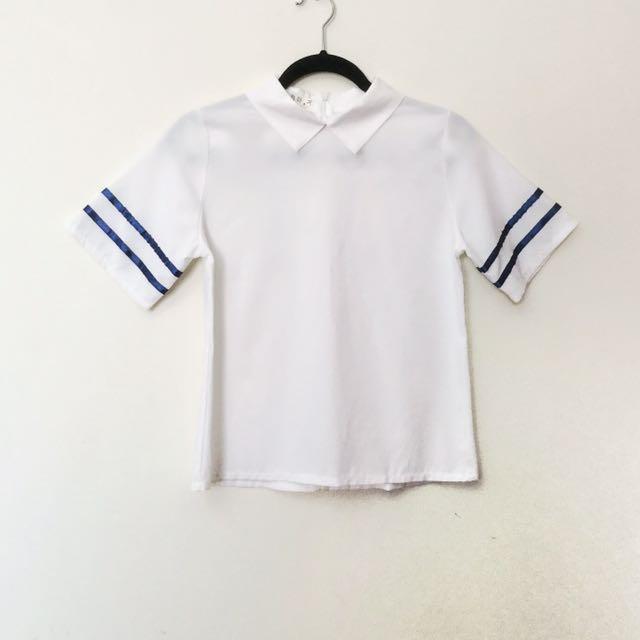 Korean collared white short sleeve top