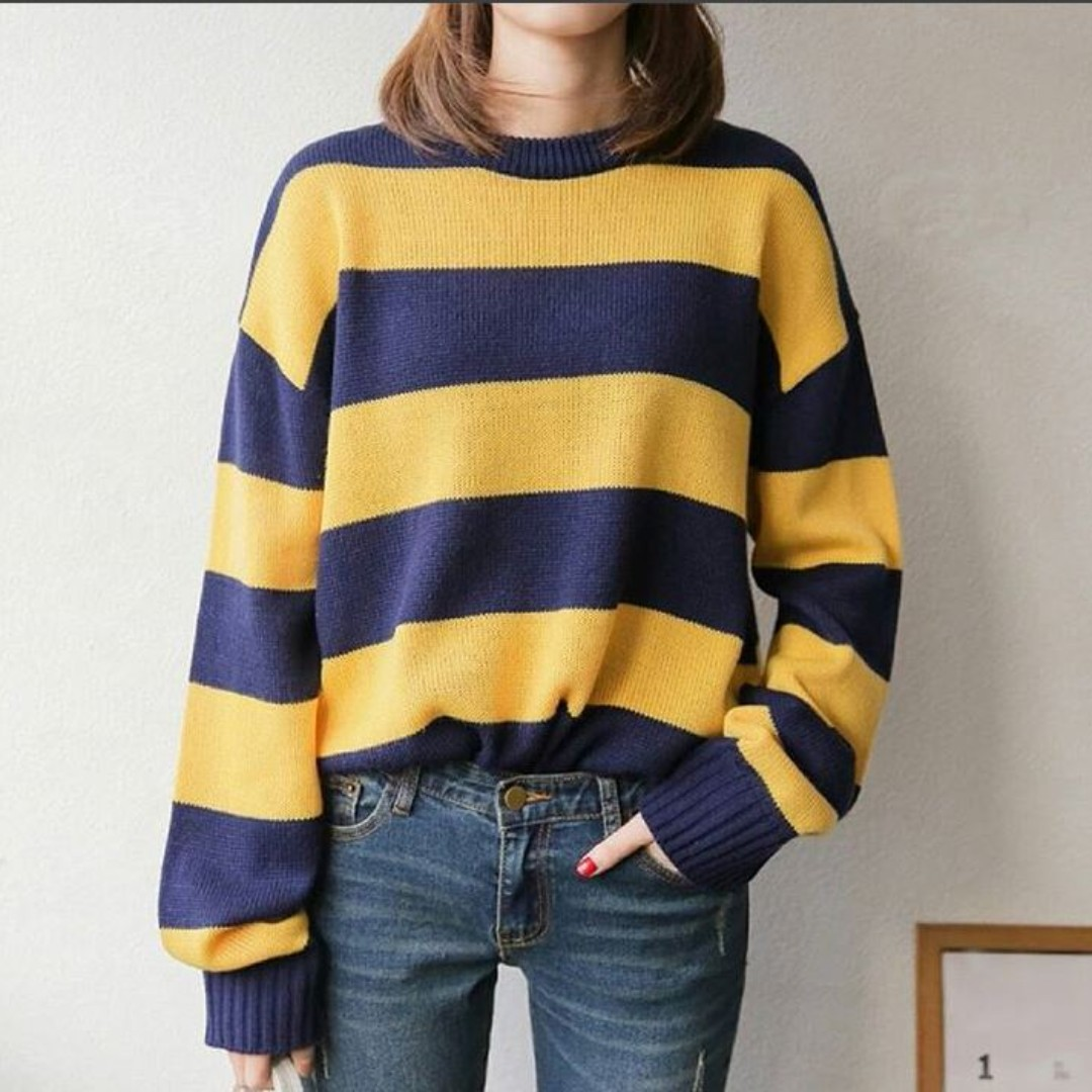 Korean Yellow Navy Blue Striped Sweater Womens Fashion Clothes