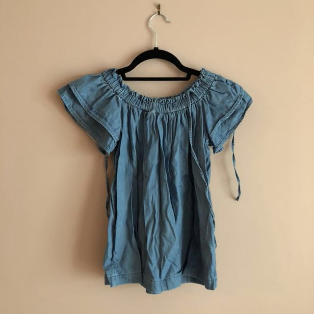 Loft Off shoulder denim top (Petite) XXSP