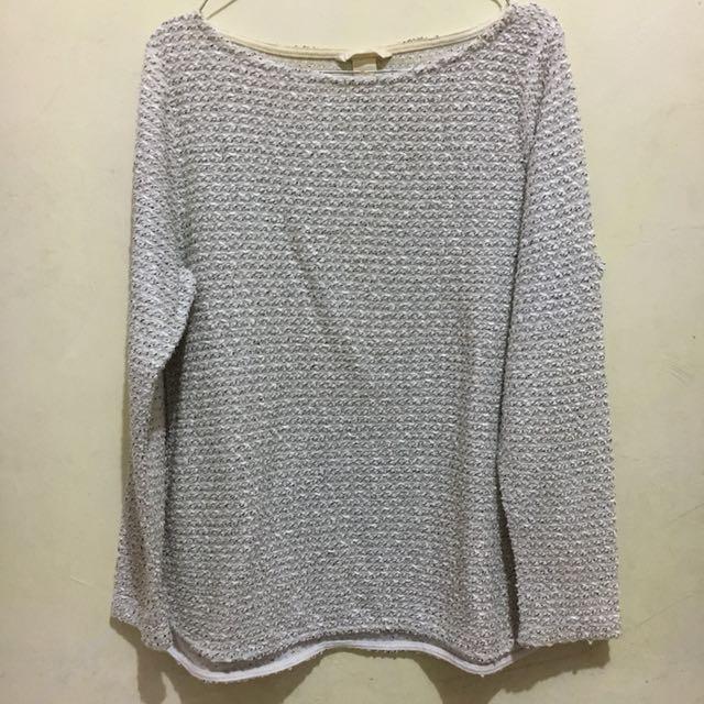 Long Sleeve White Knit Shirt