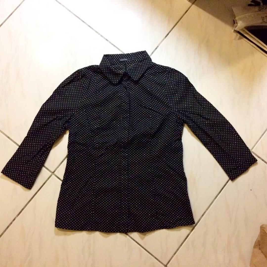 【MASTINA 黑白 彩點 長袖 襯衫】