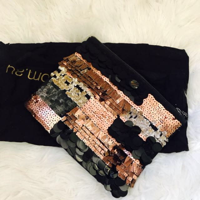 Mimco embellished sequin faux suede clutch