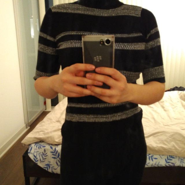 Mock neck stripped top