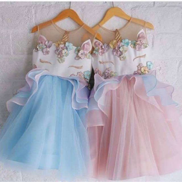 New Unicorn dresses- pink or blue size 1-6