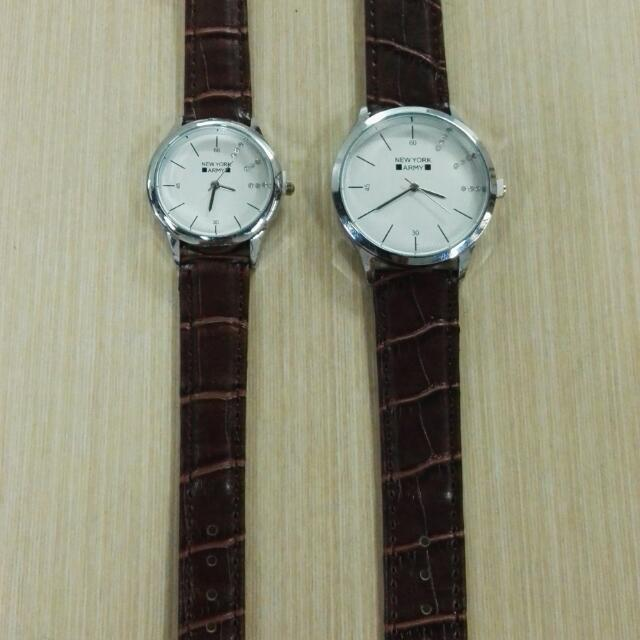 Newyork Army NYA251 Leather Strap Couple Watch - Dark Brown/White Dial