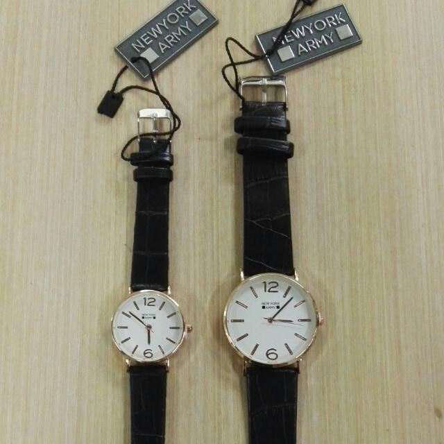 Newyork Army NYA252 Rosegold Case Couple Watch - Black/White Dial