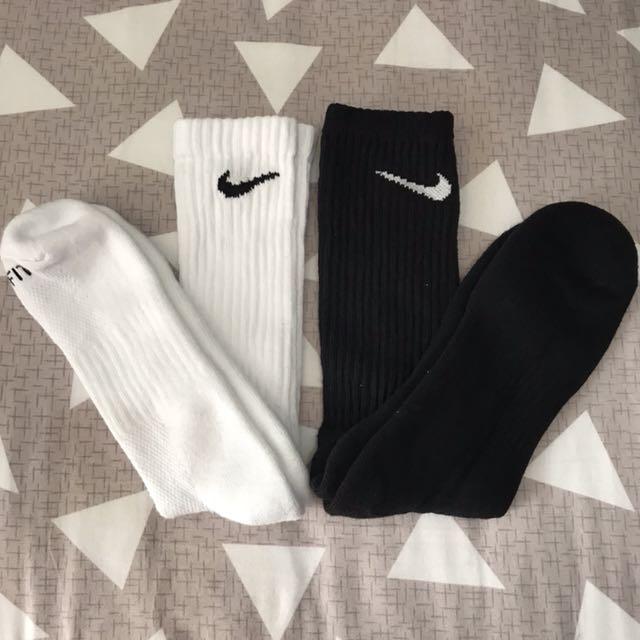 Nike Crew Socks (Black/White SET)
