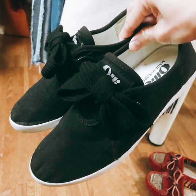 正版Ollie韓國寬版鞋帶蝴蝶結復刻內增高帆布鞋
