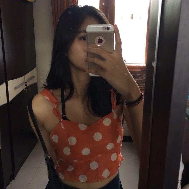 orange polkadot top