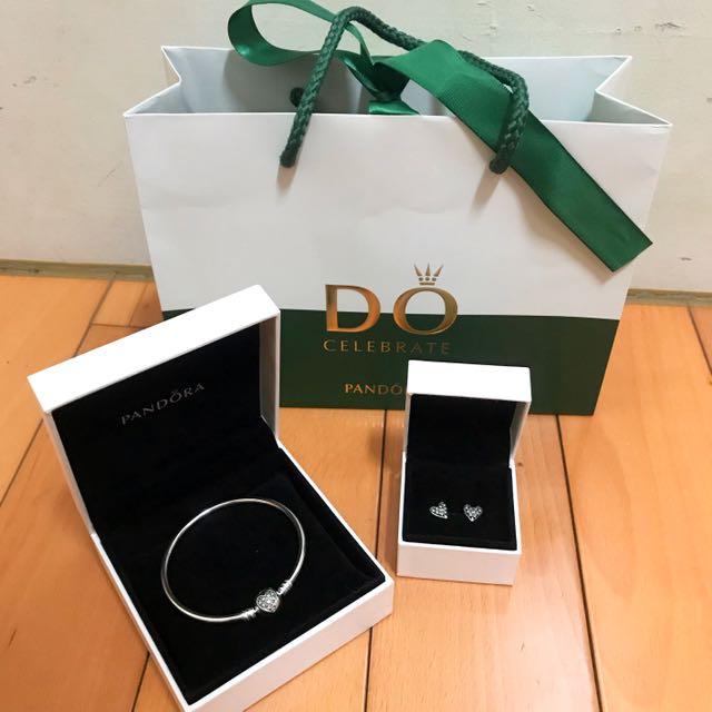 情人節禮物首選➡️pandora手鍊+耳環
