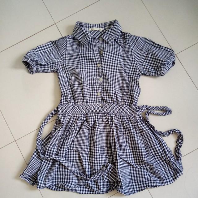 Plaid Navy Blue Polo Dress