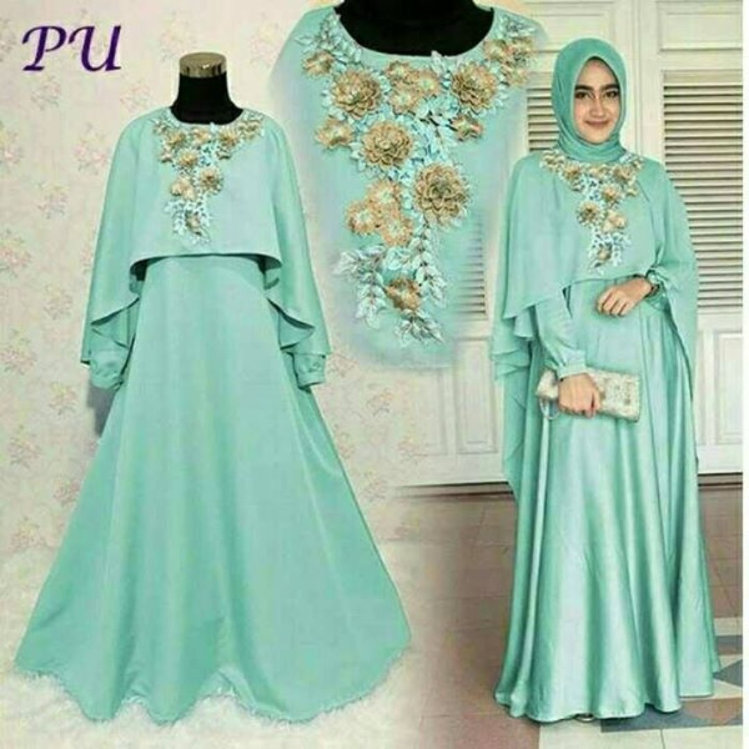 Pre order Muslimah long sleeve Mawar maxi Dress bridesmaid prom ...