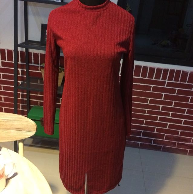 Red Turtle Neck Knit Dress