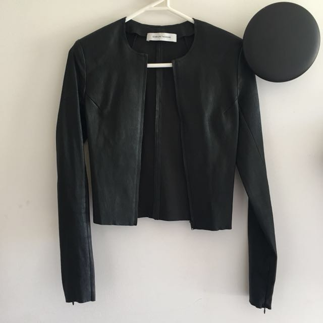 Scanlan and Theodore Black Leather Stretch Jacket - Size 6