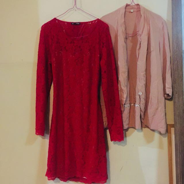 SET 1D. Lace pencil dress & blazer