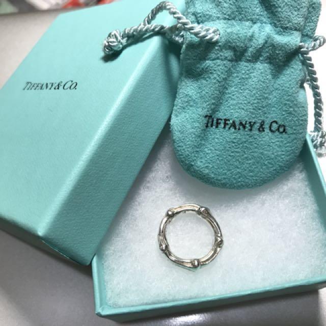 Tiffany 純銀戒指-竹節造型(戒圍約直徑1.6公分)
